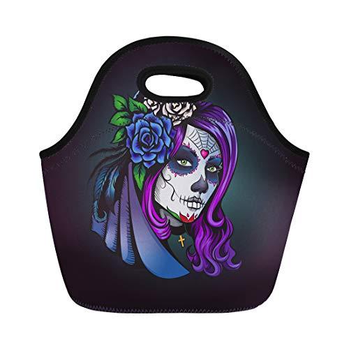 Semtomn Lunch Bags Skull Day of Dead Make Up Girl Flowers Neoprene Lunch Bag Lunchbox Tote Bag Portable Picnic Bag Cooler Bag]()