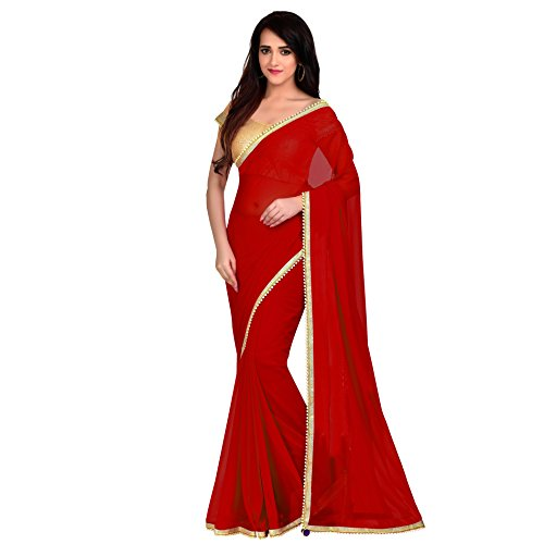 - Viva N Diva Saree for Women's Red Color Georgette Saree