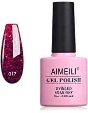 AIMEILI Soak Off UV LED Gel Nail Polish - Ruby Sparkle (017) 10ml