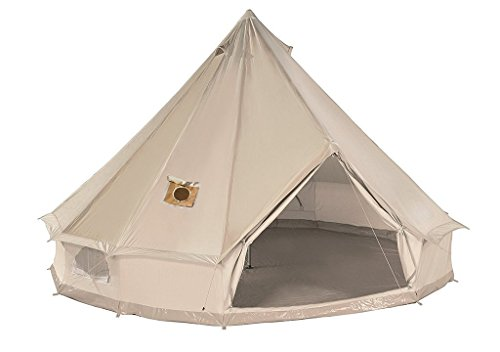 DANCHEL 4M Cotton Bell Tent with Two Stove Jackets (Top and Wall) (The Best Canvas Tents)
