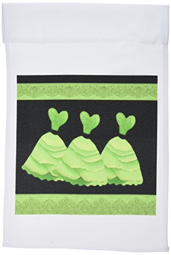 3dRose fl_30162_1 Three Frilly Lime Green Dresses with Coordinating Ribbons Garden Flag, 12 by 18-Inch