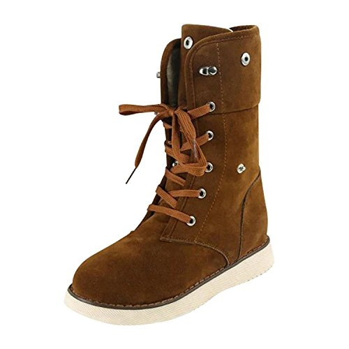 Minetom Women Fashion Boots Shoes Casual Ankle Boots Matte Suede Snow Boots Winter Shoes Brown