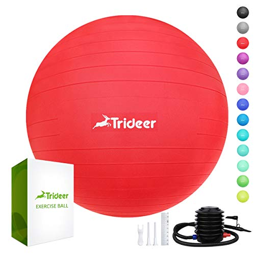 Trideer Exercise Ball (45-85cm) Extra Thick Yoga Ball Chair, Anti-Burst Heavy Duty Stability Ball Supports 2200lbs, Birthing Ball with Quick Pump (Office & Home & Gym) (Red, M (48-55cm))