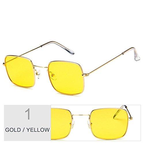 Mujer Con De Yellow TIANLIANG04 Gafas Gold Marco Claro Sobredimensionado Gafas De Sol De Sol Metal Plateado twt5C8q