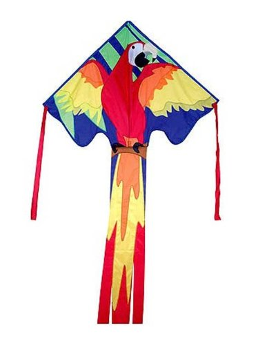 Large Easy Flyer Kite - Macaw (120cm X 230cm ) with 90m 14kg Test Kite String and Winder 44268