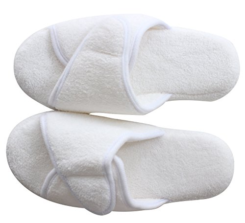 ProFoot Plush White Slippers Slip Adjustable Slippers Luxury for Wrap Hotel Foam on Memory Spa Women qwE0xTqr