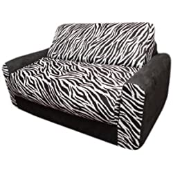 Fun Furnishings Sofa Sleeper, Black Zebra