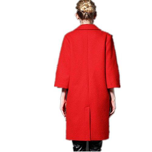 XYLUCKY Mangas de trompeta de la manera lana abrigos mujer lana lana abrigo mujeres de . big red . s
