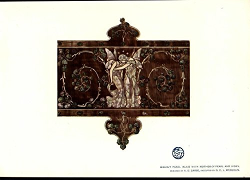 (Walnut Panel Mother of Pearl & Ivory Inlay Weguelin 1903 antique color art print)