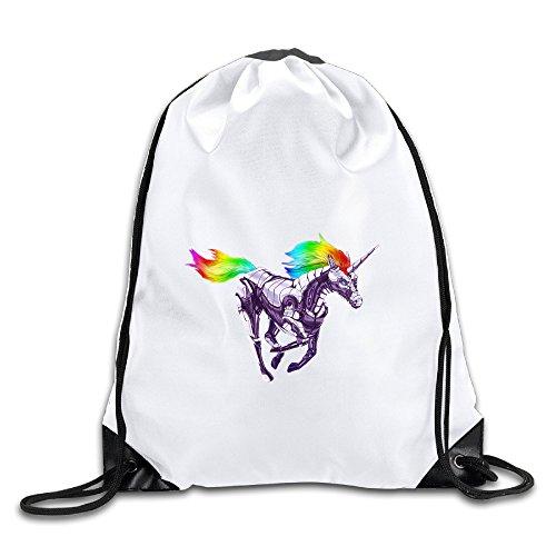 Hunson - Special Rainbow Unicorn Training Gymsack Drawstring Sling Backpack For Men & Women Sackpack