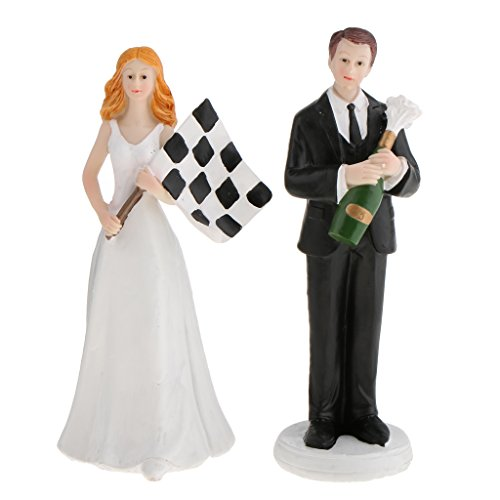 Jili Online Wedding Bride and Groom Couple Cupcake Topper Resin Stand Figurine Cake Decoration