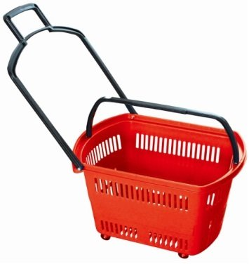 "Supermarket Large Size Rolling Shopping basket ""RED"" Plastic set of 3 (Three). 24"" X 15.7"" X 15.7"" High For Retail Store w/ Pull Handle W/4 Swivel Wheels by Market Fizz"