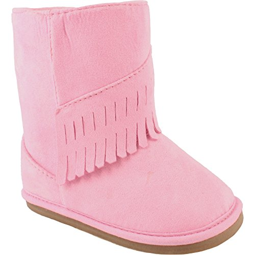 Wee Kids Baby-Girls Suede Cloth Western Baby Boots with Fringe Trim (Infant Crib Shoes Soft Sole Baby Shoes) Pink Size 4