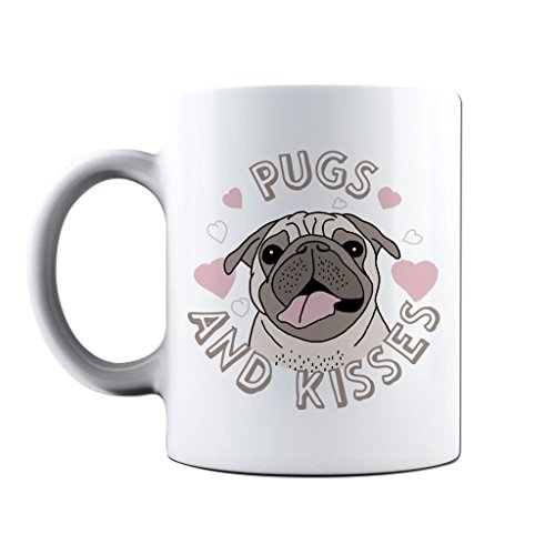(Printed Mug and Coffee Cups Pugs and Kisses Funny Mugs Novelty Gift Idea)