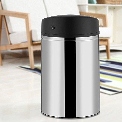 Moon_Daughter 40L Stainless Steel Trash Can Sensor Garbage Touchless Dustbin Waste Bin Bedroom