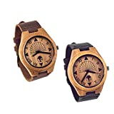 Viable Harvest Men's Wood Watch, Unique Sundial Design, Natural Bamboo, Genuine Leather and Gift Box (Set)