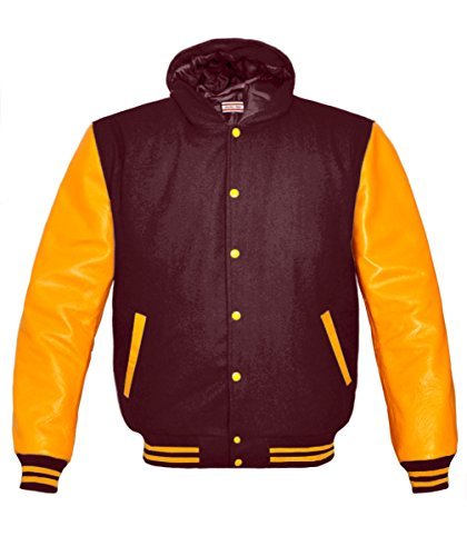 Orginal American Style Varsity Leather Biker Letterman College Men Wool Jackets,Maroon-yellow Stripe,Large