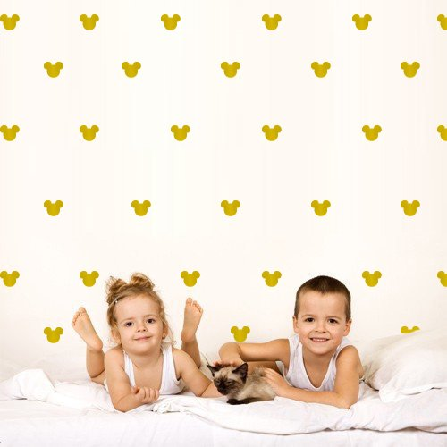 2x1.6 Set of 150 Mickey Mouse Head Cold Inspired Ears Polka Dot Wall Decal Decor Decals Sticker Art Baby Nursery Surface Graphics Bedroom Bed Gold M1640 Made in USA