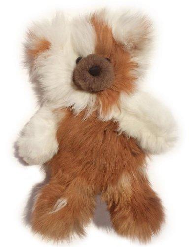 Baby Alpaca Fur Teddy Bear - Hand Made 12 Inch Multi Colored - Honey / White
