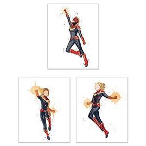 Watercolor Captain Marvel Poster Prints – Set of 3 (11×14) Glossy Marvel Avengers Wall Art Decor – Carol Danvers – End Game