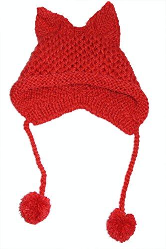 BIBITIME Women's Hat Cat Ear Crochet Braided Knit Caps Warm Snowboarding Winter (One size, Red) ()