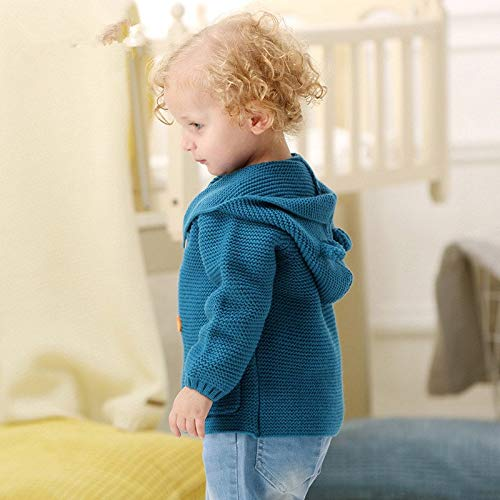fumak Knitted Cardigan Sweater for Baby boy 0-2T Infant Kids Jumper Hooded Toddler Clothes Clothing Warm Hoodie Jacket Parka Children (24M, Blue)