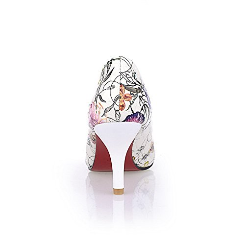 Women's WeenFashion Stilettos Pull Spikes Shoes White On Pointed Assorted Pu Pumps Color Toe Closed 6drA1ryU