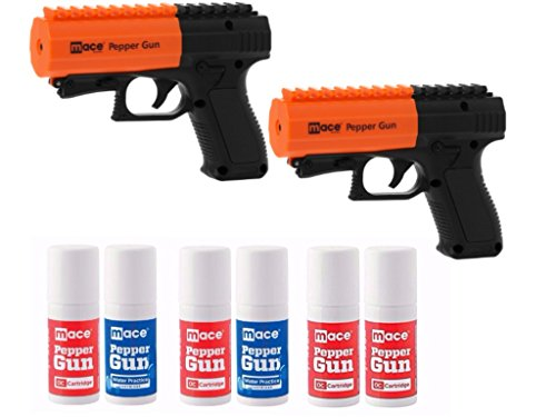 (Bundle) Mace Brand Police Strength (Version 2.0) Pepper Spray Guns with Invisible UV Identifying Dye, 2-Pack includes 2 Pepper Spray Guns and 6 Canisters with 20 Foot Stream Spray