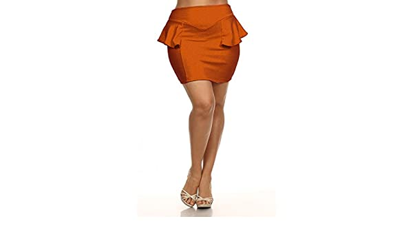 c6916202f9a Mini Peplum Skirt - Rust - Plus Size - 1X - 2X (2X) at Amazon Women s  Clothing store