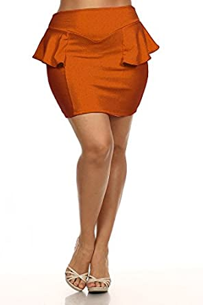 05e13a09a01 Mini Peplum Skirt - Rust - Plus Size - 1X - 2X (2X) at Amazon ...