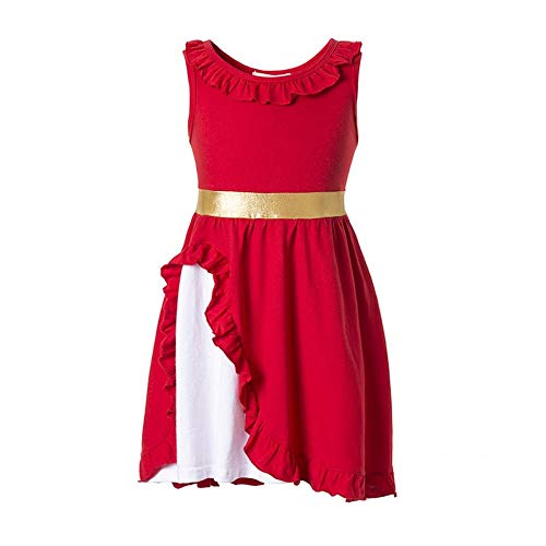 Elena of Avalor Adventure Dress Traditional Spanish Princess Dress up Costume for Girls Tiara Costume (Red, 4-5T)]()