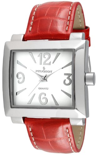 (Peugeot Women's Silver Red Leather Easy Read Big Face Watches 706RD)