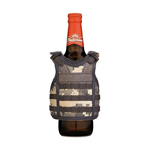 Tactical Premium Beer Military Molle Mini Miniature Vests Beverage Cooler for 12oz or 16oz Beverages cans and Bottles - Adjustable Shoulder Straps - ACU Digital Urban Camo