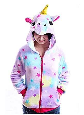Colorful Cute Cartoon Unicorn sweater Long Sleeved Costume Hoodies Cute Juniors Kids Cartoon Animal Flannel Zipper Jackets