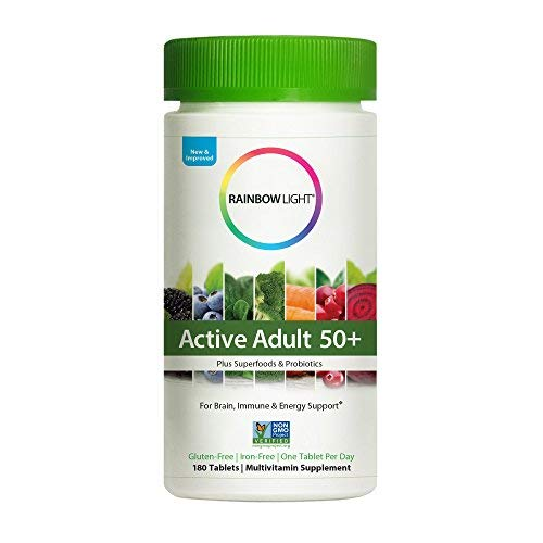 Rainbow Light Active Adult 50+ Plus Superfoods & Probiotics - Multivitamin Brain, Immune and Energy Support for Women and Men, Non-GMO Organic Daily Vitamin and Mineral Supplement - 180 Tablets