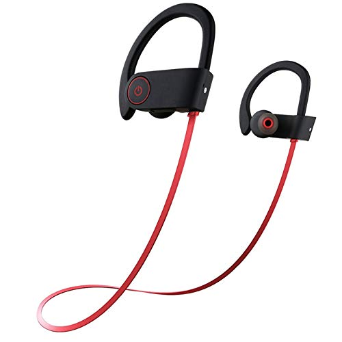 Wireless Bluetooth Red Headset IPX7 Waterproof, HD Stereo Earbuds for Gym Running Workout