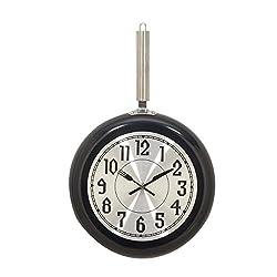 Deco 79 98437 Black Iron Wall Clock, 19 x 11, Silver