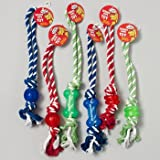 DOG TOY ROPE/RUBBER TUG CHEWS 3 STYLES 3 COLORS IN PDQ, Case Pack of 84