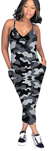 Vamvie Women Spgahetti Strap Floral Camouflage Print Casual Harem Jumpsuits with Pockets Grey Camo 3XL -