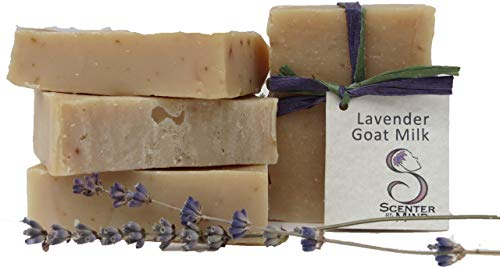 Scenter of the Mind Luxurious All Natural Handmade Soap, Calming Lavender Goat Milk - 4-Pack