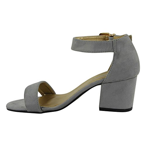 Womens Ladies Summer Ankle Strap Chunky Low Block Heel Shoes Buckle Sandals Size 3-8 Grey x9JKBtB