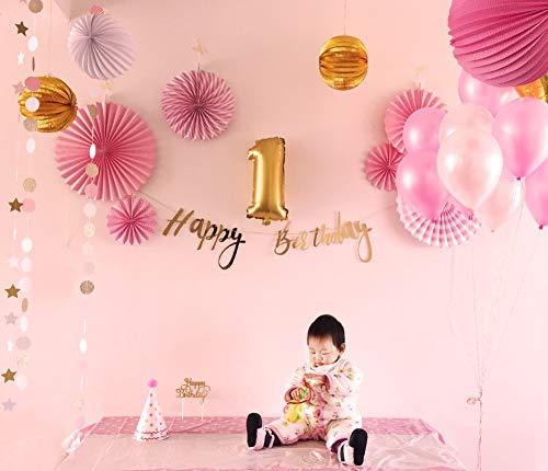 Happy Birthday Party Decoration for Girls Pink Theme Baby Shower Supplies Paper Fans Lantern Wedding Balloon Balls 24 Pieces]()