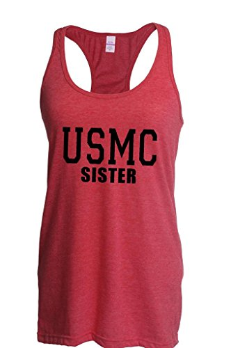 Blue Tees USMC Sister Proud Marine Corps Fashion People Best Friend Couples Gifts Women Racerback Tank Clothes Small Heather Red