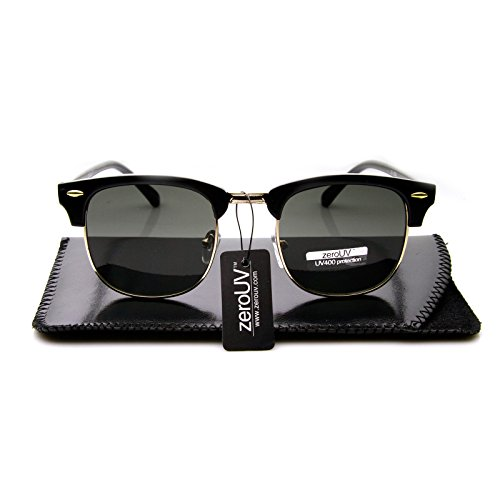 577a5c289b zeroUV - Premium Half Frame Horn Rimmed Sunglasses with Metal Rivets  (Classic Series