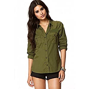 C.Cozami Women's Casual Long Sleeves Double Pocket Rayon Shirts