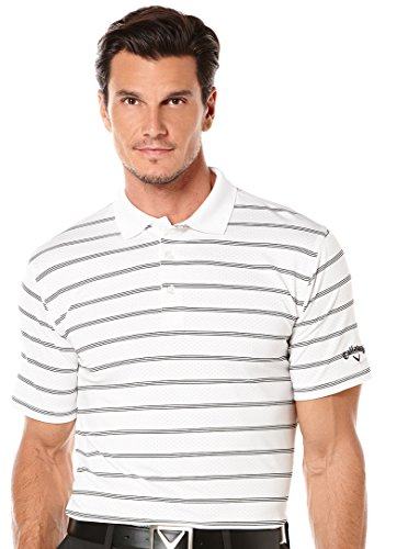 Callaway Men's Golf Performance Stripe Short Sleeve Polo Shirt, Bright White, Large