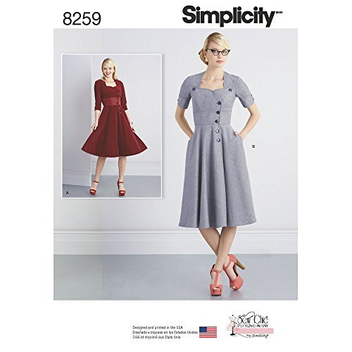 1950s Sewing Patterns- Dresses, Skirts, Tops, Pants Misses Sew Chic Button Front Dresses Size K5 (8-10-12-14-16) $12.24 AT vintagedancer.com