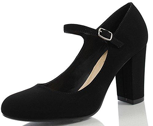ort Nola Women's Closed Toe Ankle Strap Block Heel (6.5 M US, Black Nubuck) ()