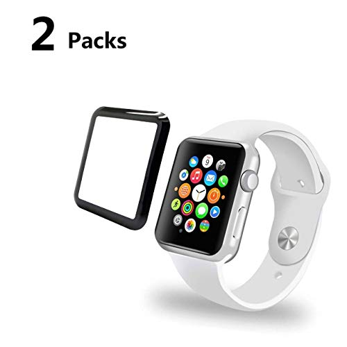YJan Scratch Resistant Anti-Bubble Tempered Glass Film Easy-Installation Screen Protector Compatible with Apple iWatch Series 1/2/3 (42mm 2 Pack)