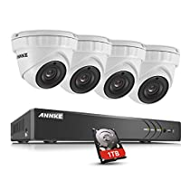 ANNKE 4 Channel 3MP Video Security System with 1TB Hard Drive and (4) 2048TVL 3.0-Megapixel Weatherproof IP66 Metal Housing Dome Cameras, 66ft IR LED Night Vision, Smartphone View
